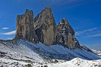 winter at the Three Peaks Mountains, Tre Cime di Lavaredo, Drei Zinnen, Sesto Dolomites, South Tyrol