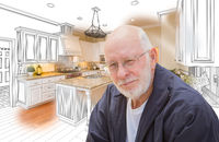 Senior Man Over Custom Kitchen Design Drawing and Photo