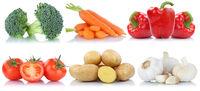 Gemüse Tomaten Kartoffeln Karotten Paprika Collage Freisteller freigestellt isoliert