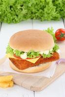 Fischburger Fisch Burger Backfisch Hamburger frisch Käse Tomaten Salat