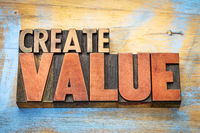 create value word abstract in wood typography