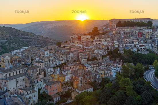 Sunrise in the old baroque city of Ragusa Ibla in Sicily