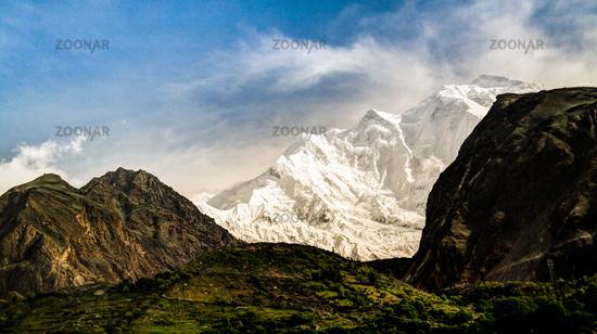 View to Rakaposhi peak, Karakorum mountains Pakistan
