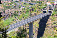 Highway and overpass through tunnels on Madeira Portugal