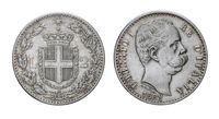 Two Lire Silver Coin 1882 Umberto I Kingdom of Italy