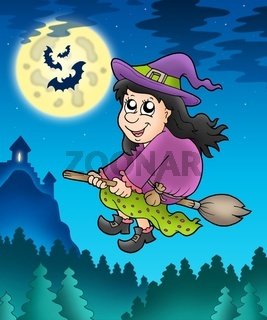 Cute witch on broom near castle - color illustration.