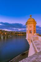 Famous Senglea Guardiola tower and Valletta in Malta