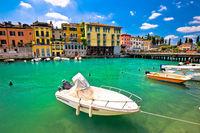 Peschiera del Garda colorful harbor and boats view