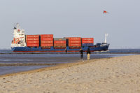 Container ship in the Wadden Sea, Cuxhaven, Lower Saxony, Germany, Europe