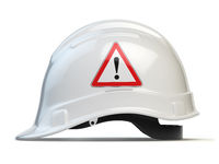 White hard hat, safety helmet isolated on white