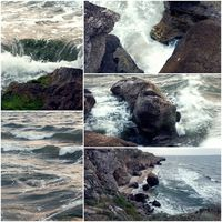 Waves hit the rock blurred motion collage of toned colorized pictures. Dramatic evening scene