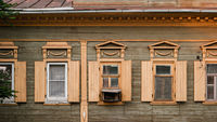 Astrakhan,Russia, 24 May 2016: Old wooden windows of house in Old City Center of Astrakhan-city