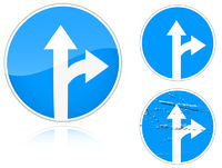 Straight and right ahead - road sign
