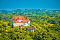 Green hills of Zagorje region and Veliki Tabor castle view