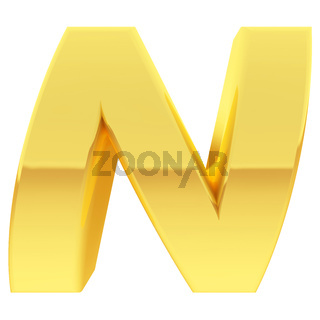 Gold alphabet symbol letter N with gradient reflections isolated on white. High resolution 3D image