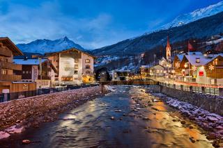 Solden Ski Resort Skyline in the Morning, Tirol, Austria