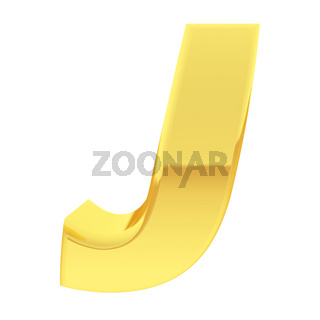 Gold alphabet symbol letter J with gradient reflections isolated on white. High resolution 3D image