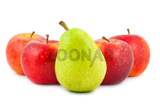 Four red apples and green pear