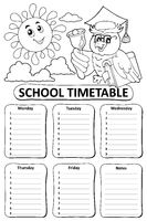 Black and white school timetable theme 8 - picture illustration.