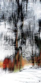 Baum im Winterschnee, grafisch abstrakt (digital manipuliert)