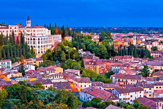 Verona rooftops and Opera Don Calabria evening view