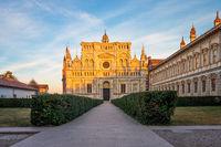 Pavia Carthusian monastery and gardens close up.