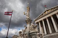 Goddess Athena and Austrian Parliament in Vienna