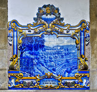Ceramic tiles, azulejos, depicting scenes from the local grape vine cultivation in the Douro Valley,