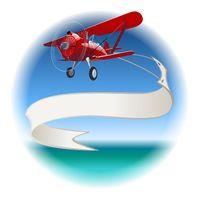 Retro Biplane with banner