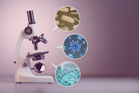 Microscope and a set  of different bacterias and viruses. Space for text.