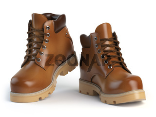 Brown man´s  boots isolated on white background.