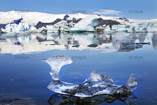 piece of ice in front of the glacier lagoon Joekulsarlon, Vatnajoekull National Park, Iceland Europe