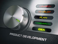 Product developmend cycle concept. Knob with stages of product development. Idea.