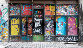 Grunge wooden door with random paints