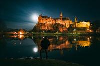 Sigmaringen Castle at full moon