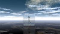 glaswürfel mit dem buchstabe i vor wolkenhimmel - 3d illustration