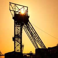 headframe of the colliery Auguste Victoria shaft 1/2, Marl, Ruhr Area, Germany, Europe
