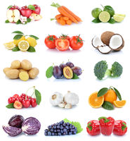 Obst und Gemüse Früchte Sammlung Äpfel, Orangen Tomaten Trauben Essen Freisteller