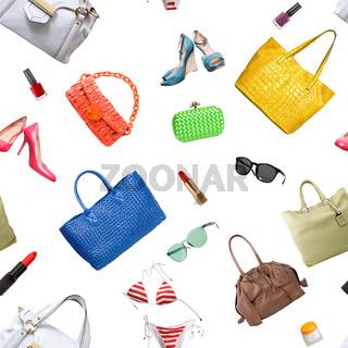 Minimal set of Feminine accessories on white background.