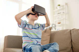 little boy in vr headset or 3d glasses at home