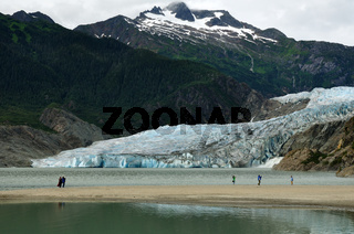 People viewing Mendenhall Glacier and Waterfall