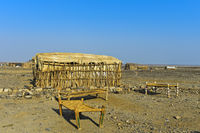 Stretchers in the open of an open-air accommodation, Hamed Ela, Amhedela,Danakil Depression,Ethiopia