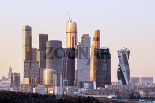 Moscow International Business Center in the evening.