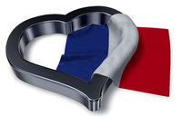 flagge von frankreich und herz symbol - 3d illustration