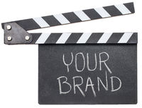 your brand text on clapboard