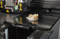 3D Printer With Finished 3D Printed Dental Implant Bridge