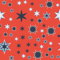 Seamless texture orange stylized flowers and stars.
