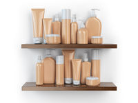 Shelf with cosmetics and toiletries.