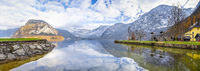Panorama of Austrian Alps and lake