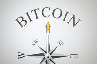 compass with the word bitcoin